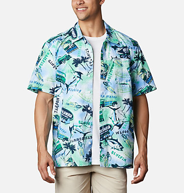 Men's PFG Trollers Best™ Short Sleeve Shirt Trollers Best™ SS Shirt | 704 | XL, Emerald Green Offshore Archive Print, front