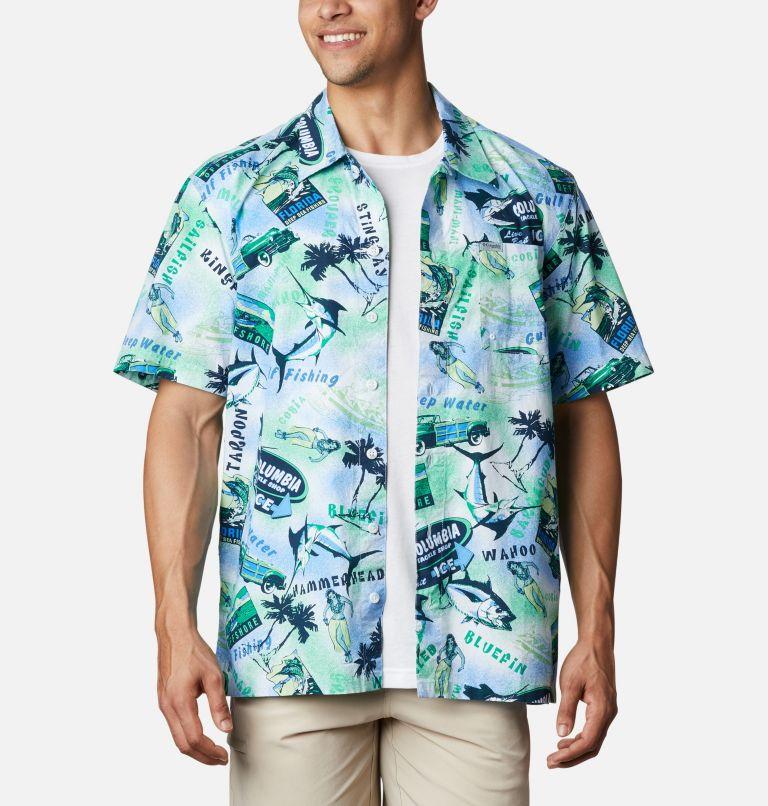 Trollers Best™ SS Shirt | 379 | S Men's PFG Trollers Best™ Short Sleeve Shirt, Emerald Green Offshore Archive Print, front