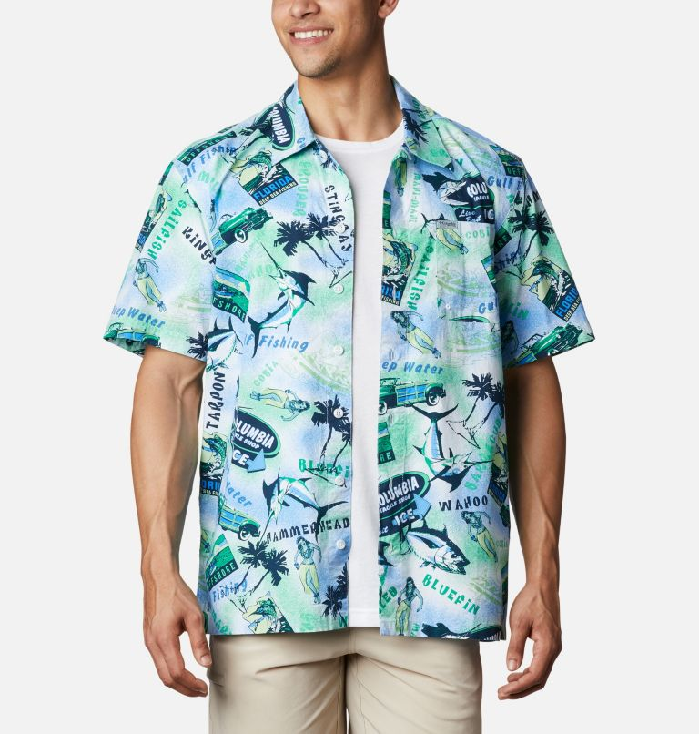 Trollers Best™ SS Shirt | 379 | XL Men's PFG Trollers Best™ Short Sleeve Shirt, Emerald Green Offshore Archive Print, front
