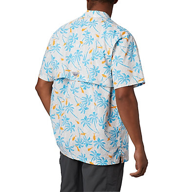 Men's PFG Trollers Best™ Short Sleeve Shirt Trollers Best™ SS Shirt | 342 | L, Riptide Fish Palms Print, back