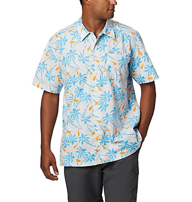Men's PFG Trollers Best™ Short Sleeve Shirt Trollers Best™ SS Shirt | 342 | L, Riptide Fish Palms Print, front