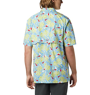 Men's PFG Trollers Best™ Short Sleeve Shirt Trollers Best™ SS Shirt | 342 | L, Yacht Fish Palms Print, back