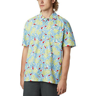 Men's PFG Trollers Best™ Short Sleeve Shirt Trollers Best™ SS Shirt | 342 | L, Yacht Fish Palms Print, front