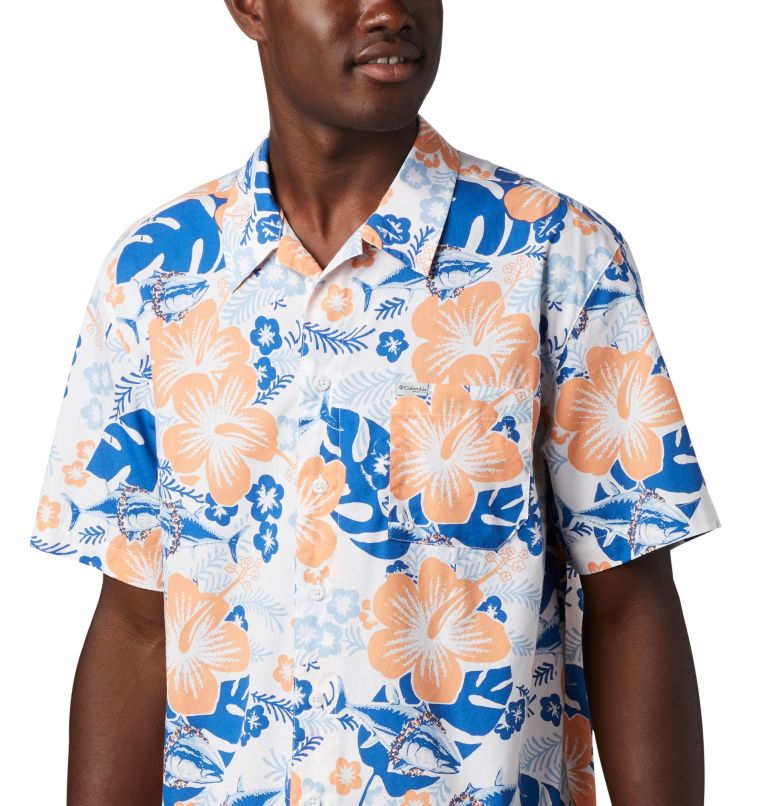 Trollers Best™ SS Shirt | 510 | XS Men's PFG Trollers Best™ Short Sleeve Shirt, Vivid Blue Katuna Vibes Print, a2