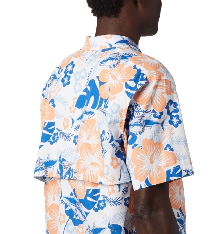 Trollers Best™ SS Shirt | 510 | XS Men's PFG Trollers Best™ Short Sleeve Shirt, Vivid Blue Katuna Vibes Print, a3