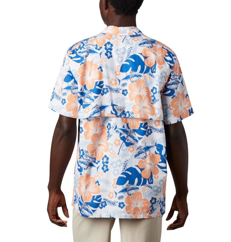 Trollers Best™ SS Shirt | 510 | XS Men's PFG Trollers Best™ Short Sleeve Shirt, Vivid Blue Katuna Vibes Print, back