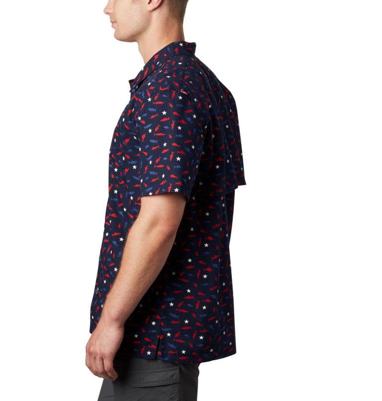 Trollers Best™ SS Shirt | 512 | L Men's PFG Trollers Best™ Short Sleeve Shirt, Collegiate Navy Americana Print, a1