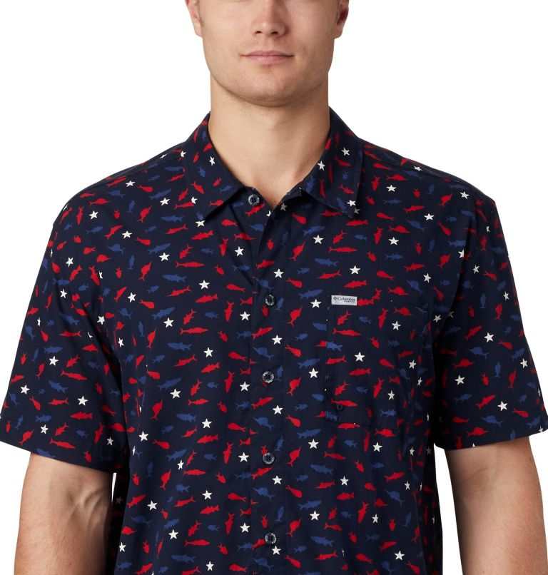 Trollers Best™ SS Shirt | 512 | L Men's PFG Trollers Best™ Short Sleeve Shirt, Collegiate Navy Americana Print, a3