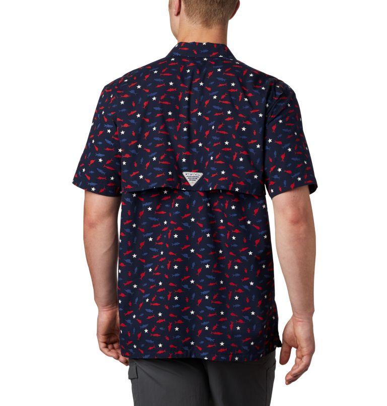 Trollers Best™ SS Shirt | 512 | L Men's PFG Trollers Best™ Short Sleeve Shirt, Collegiate Navy Americana Print, back