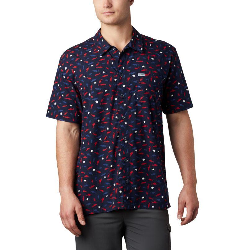 Trollers Best™ SS Shirt | 512 | M Men's PFG Trollers Best™ Short Sleeve Shirt, Collegiate Navy Americana Print, front