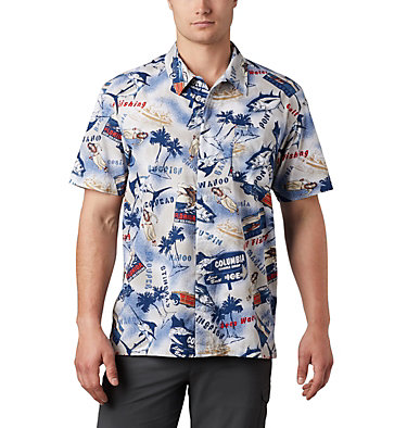 Men's PFG Trollers Best™ Short Sleeve Shirt Trollers Best™ SS Shirt | 704 | XL, Carbon Archive Print, front
