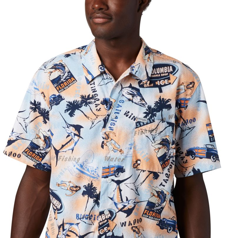 Trollers Best™ SS Shirt | 517 | XL Men's PFG Trollers Best™ Short Sleeve Shirt, Vivid Blue Archive Print, a2