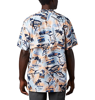 Men's PFG Trollers Best™ Short Sleeve Shirt Trollers Best™ SS Shirt | 704 | XL, Vivid Blue Archive Print, back