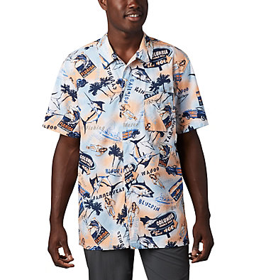 Men's PFG Trollers Best™ Short Sleeve Shirt Trollers Best™ SS Shirt | 704 | XL, Vivid Blue Archive Print, front