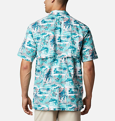 Men's PFG Trollers Best™ Short Sleeve Shirt Trollers Best™ SS Shirt | 704 | XL, Bright Aqua Polynesian Print, back