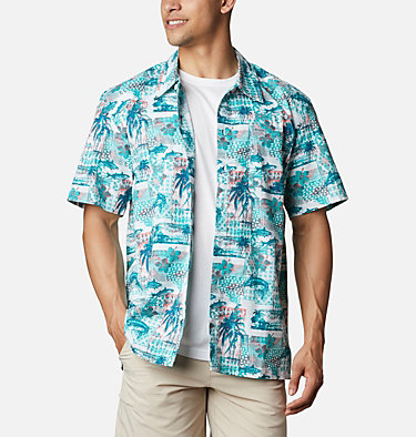 Men's PFG Trollers Best™ Short Sleeve Shirt Trollers Best™ SS Shirt | 704 | XL, Bright Aqua Polynesian Print, front