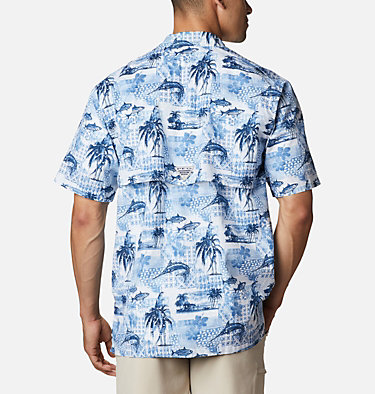 Men's PFG Trollers Best™ Short Sleeve Shirt Trollers Best™ SS Shirt | 704 | XL, Skyler Polynesian Print, back
