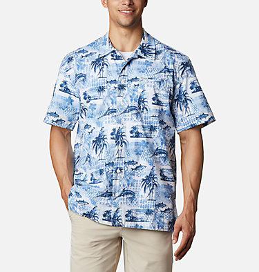 Men's PFG Trollers Best™ Short Sleeve Shirt Trollers Best™ SS Shirt | 704 | XL, Skyler Polynesian Print, front