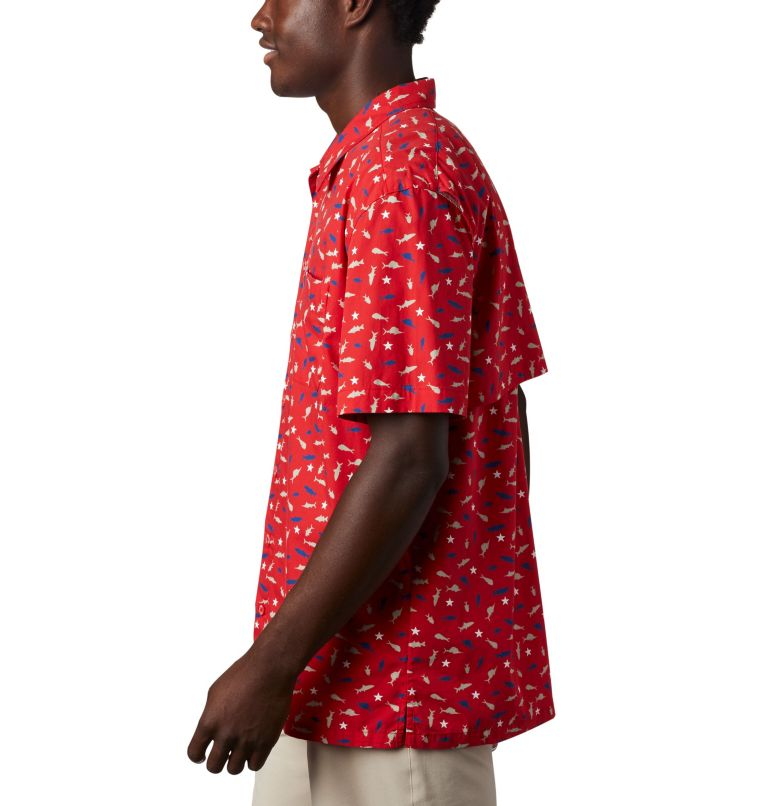 Trollers Best™ SS Shirt   697   L Men's PFG Trollers Best™ Short Sleeve Shirt, Red Spark Americana Print, a1