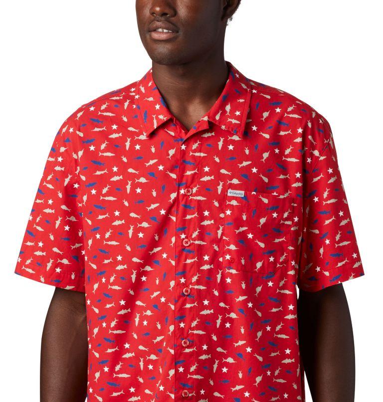 Trollers Best™ SS Shirt | 697 | L Men's PFG Trollers Best™ Short Sleeve Shirt, Red Spark Americana Print, a2