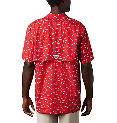 Men's PFG Trollers Best™ Short Sleeve Shirt Trollers Best™ SS Shirt | 704 | XL, Red Spark Americana Print, back