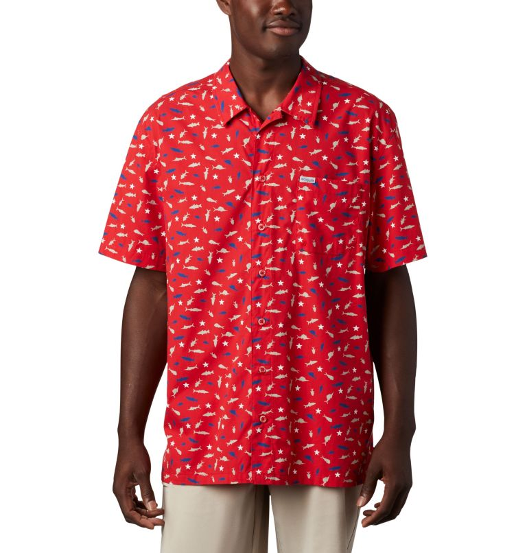 Trollers Best™ SS Shirt   697   L Men's PFG Trollers Best™ Short Sleeve Shirt, Red Spark Americana Print, front