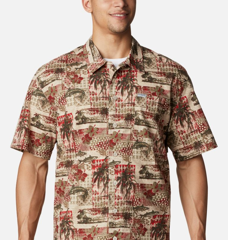 Trollers Best™ SS Shirt | 702 | L Men's PFG Trollers Best™ Short Sleeve Shirt, Red Spark Polynesian Print, a2