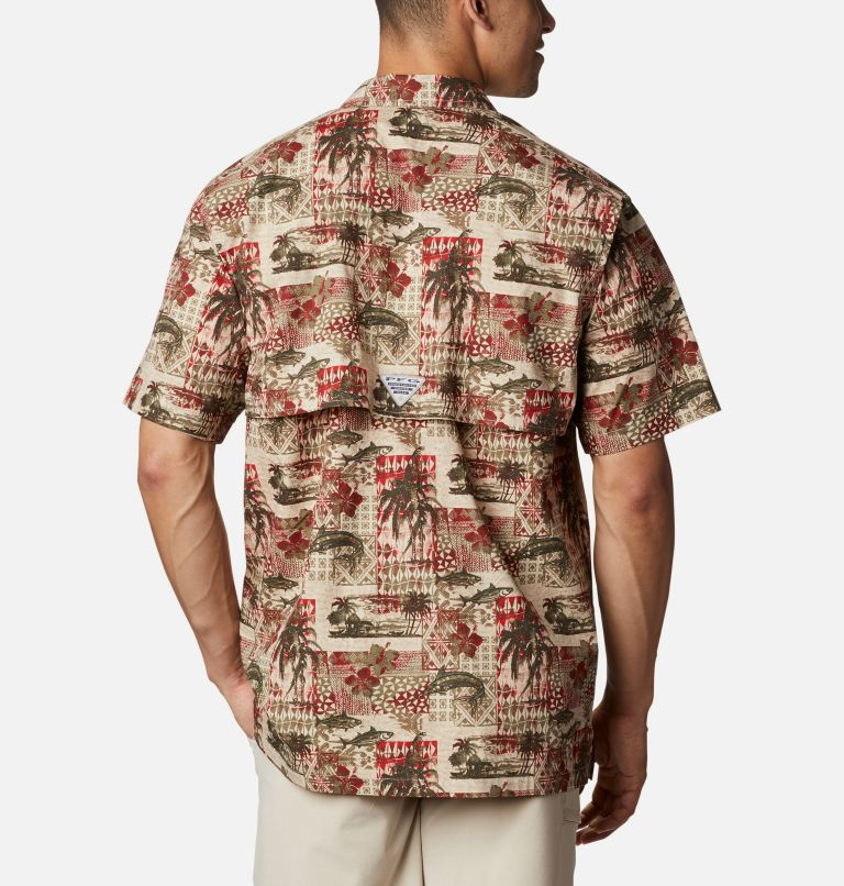Trollers Best™ SS Shirt | 702 | L Men's PFG Trollers Best™ Short Sleeve Shirt, Red Spark Polynesian Print, back