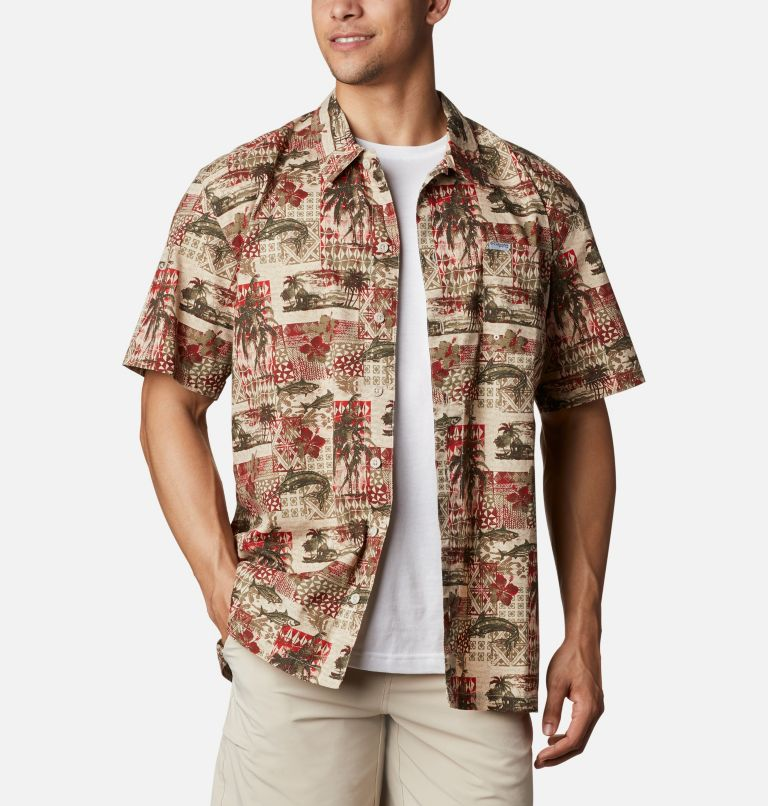 Trollers Best™ SS Shirt | 702 | L Men's PFG Trollers Best™ Short Sleeve Shirt, Red Spark Polynesian Print, front