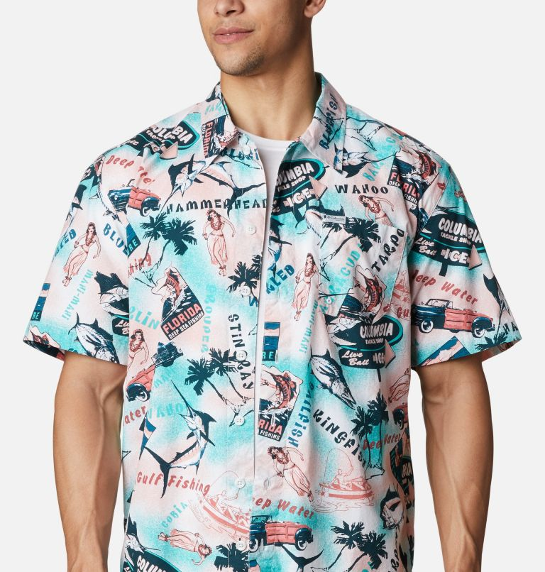Trollers Best™ SS Shirt | 704 | M Men's PFG Trollers Best™ Short Sleeve Shirt, Salmon Offshore Archive Print, a2