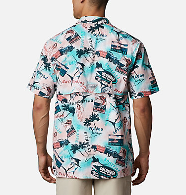 Men's PFG Trollers Best™ Short Sleeve Shirt Trollers Best™ SS Shirt | 704 | XL, Salmon Offshore Archive Print, back