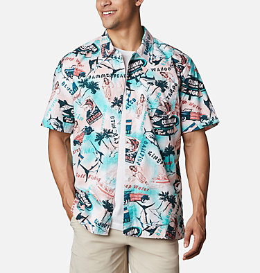 Men's PFG Trollers Best™ Short Sleeve Shirt Trollers Best™ SS Shirt | 704 | XL, Salmon Offshore Archive Print, front
