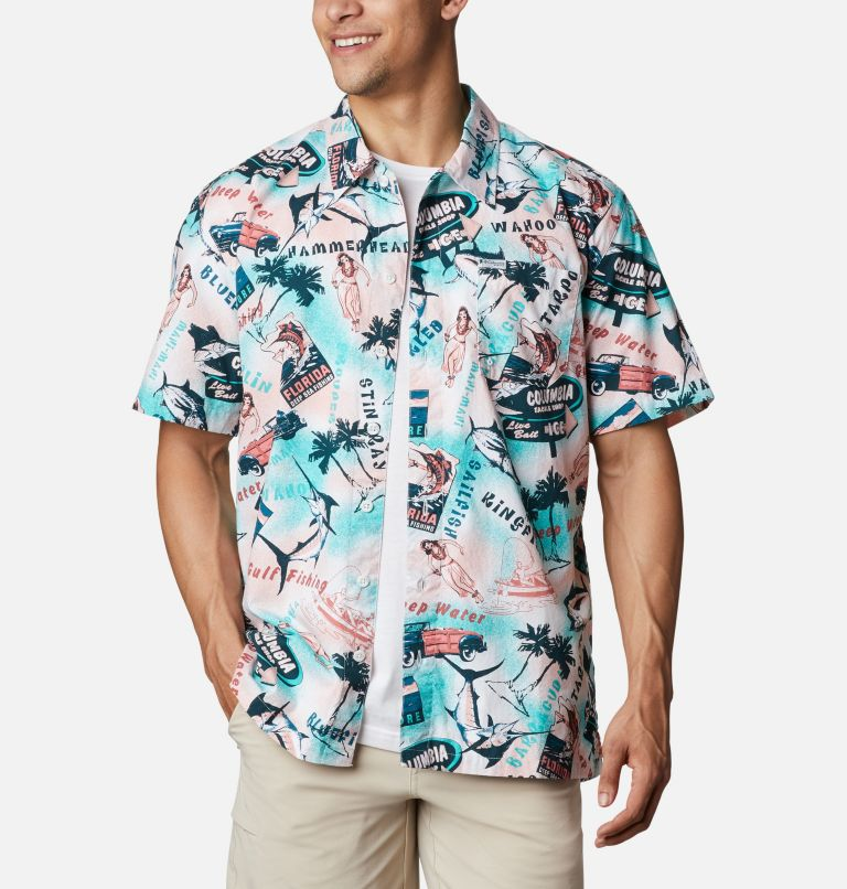 Trollers Best™ SS Shirt | 704 | M Men's PFG Trollers Best™ Short Sleeve Shirt, Salmon Offshore Archive Print, front