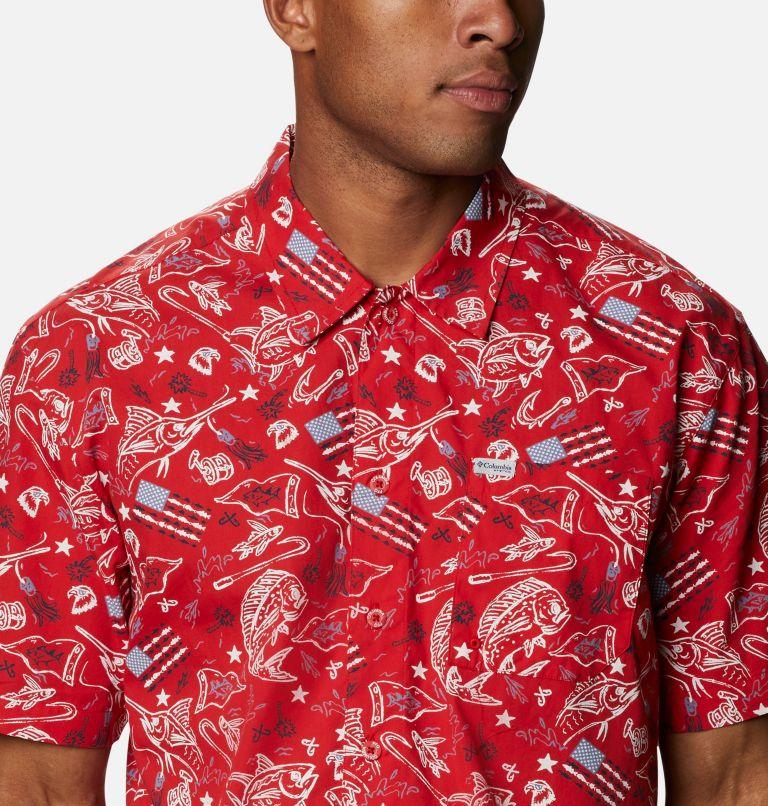 Trollers Best™ SS Shirt | 717 | XS Men's PFG Trollers Best™ Short Sleeve Shirt, Red Spark Americana Fishing Print, a2