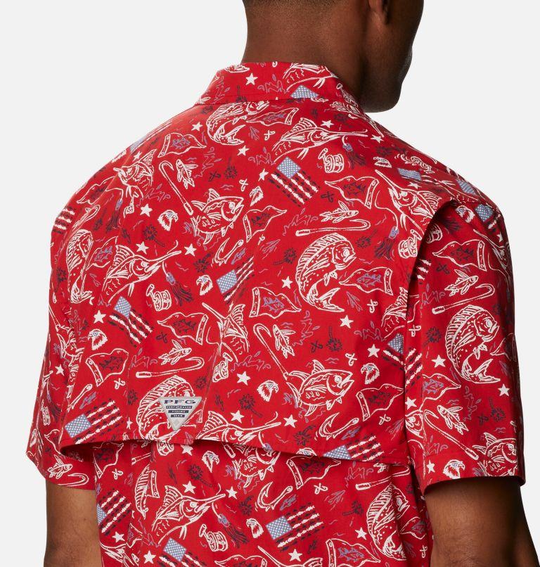 Trollers Best™ SS Shirt | 717 | XS Men's PFG Trollers Best™ Short Sleeve Shirt, Red Spark Americana Fishing Print, a3