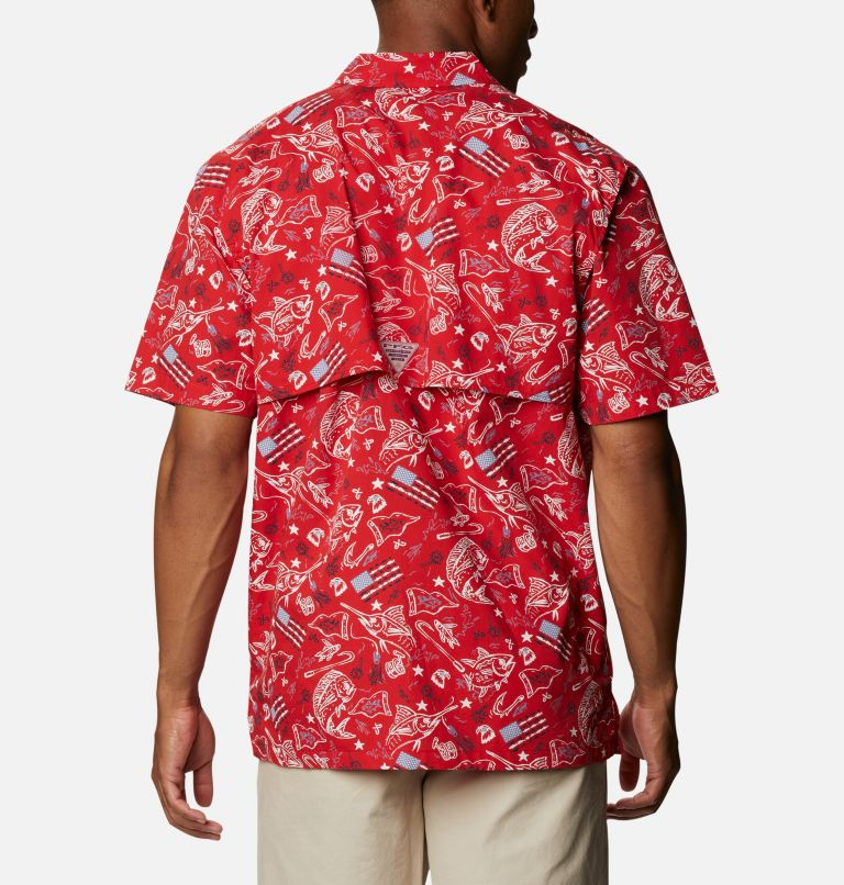 Trollers Best™ SS Shirt | 717 | XXL Men's PFG Trollers Best™ Short Sleeve Shirt, Red Spark Americana Fishing Print, back