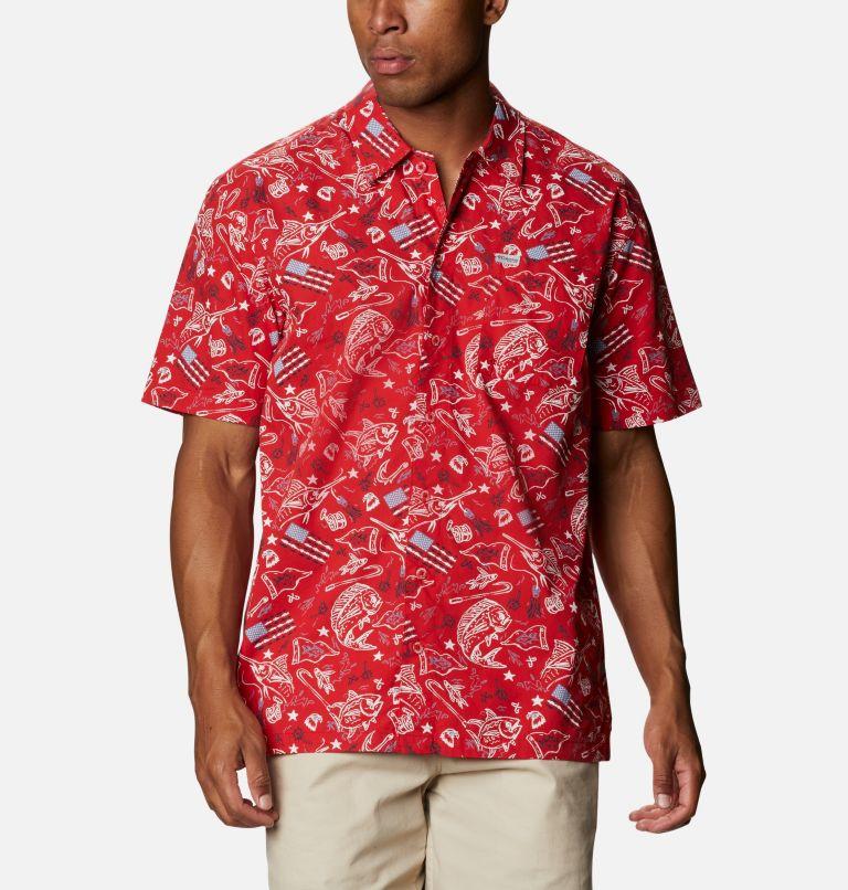 Trollers Best™ SS Shirt | 717 | XS Men's PFG Trollers Best™ Short Sleeve Shirt, Red Spark Americana Fishing Print, front