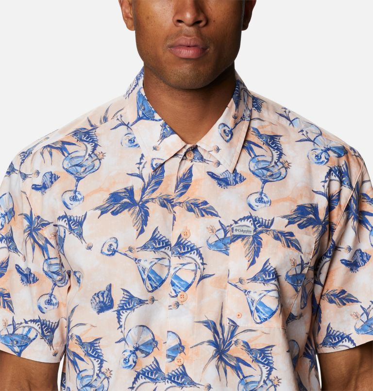 Trollers Best™ SS Shirt | 884 | L Men's PFG Trollers Best™ Short Sleeve Shirt, King Crab Martini Marlin Print, a2