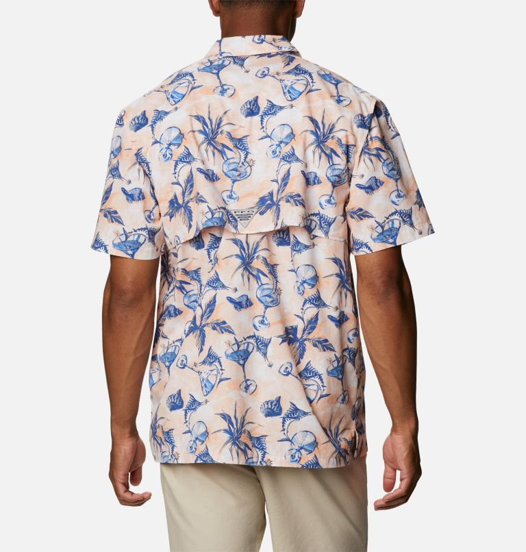 Trollers Best™ SS Shirt | 884 | XS Men's PFG Trollers Best™ Short Sleeve Shirt, King Crab Martini Marlin Print, back