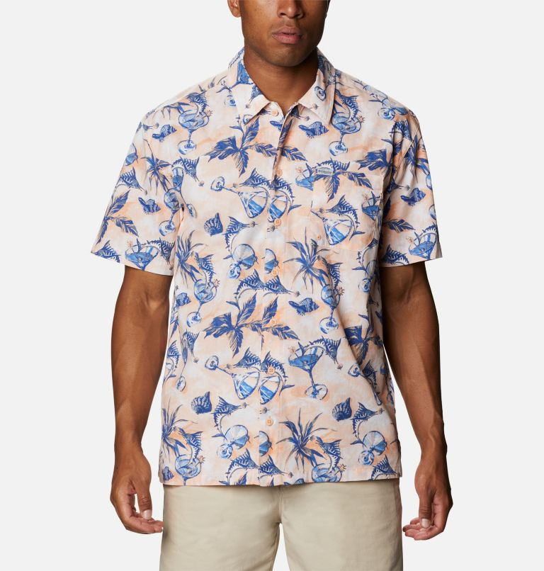Trollers Best™ SS Shirt | 884 | XS Men's PFG Trollers Best™ Short Sleeve Shirt, King Crab Martini Marlin Print, front