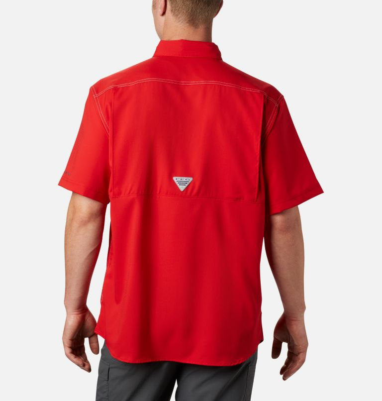 Low Drag Offshore™ SS Shirt | 696 | XS Men's PFG Low Drag Offshore™ Short Sleeve Shirt, Red Spark, back