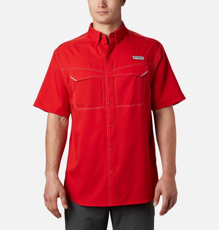 Low Drag Offshore™ SS Shirt | 696 | XS Men's PFG Low Drag Offshore™ Short Sleeve Shirt, Red Spark, front