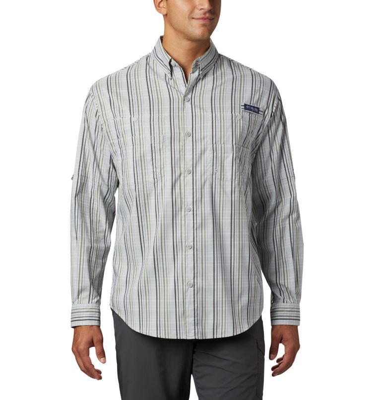 Super Tamiami™ LS Shirt | 012 | S Men's PFG Super Tamiami™ Long Sleeve Shirt, Cool Grey Small Check, front