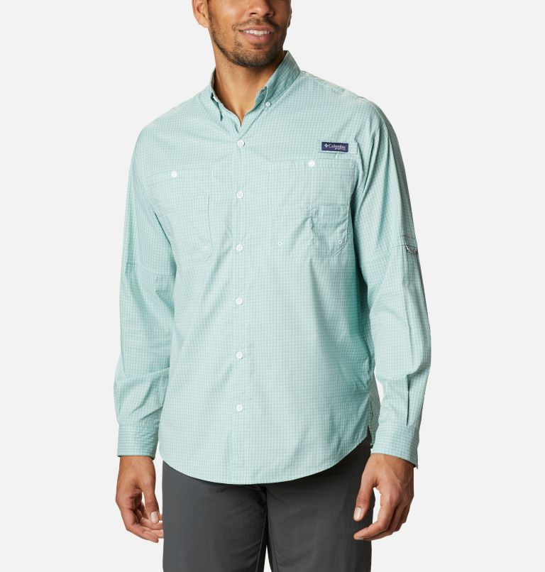 Super Tamiami™ LS Shirt | 346 | L Men's PFG Super Tamiami™ Long Sleeve Shirt, Aqua Tone Gingham, front