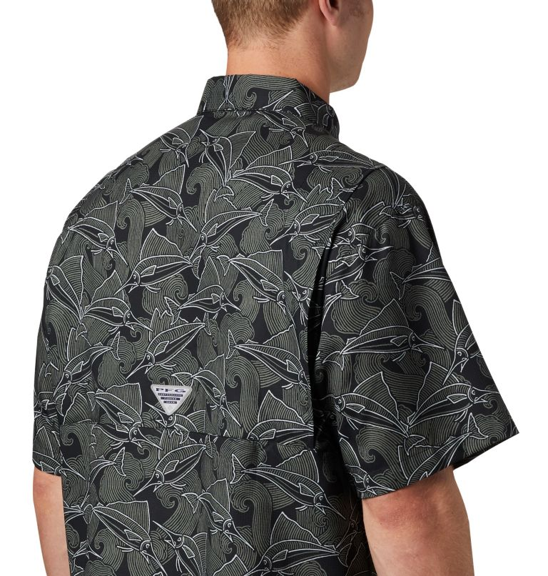 Super Tamiami™ SS Shirt | 014 | L Men's PFG Super Tamiami™ Short Sleeve Shirt, Black Fish Wave Print, a2