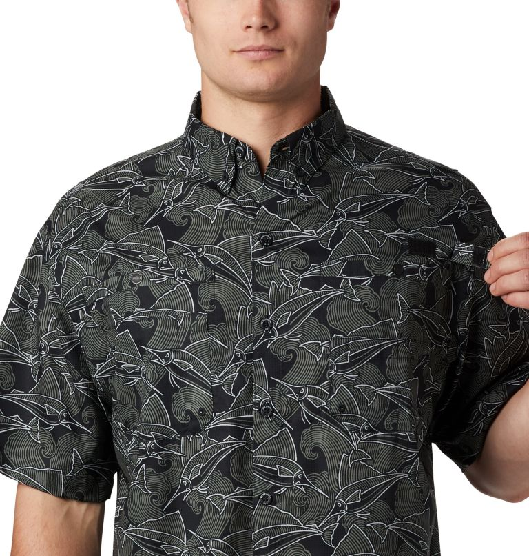 Super Tamiami™ SS Shirt | 014 | L Men's PFG Super Tamiami™ Short Sleeve Shirt, Black Fish Wave Print, a3