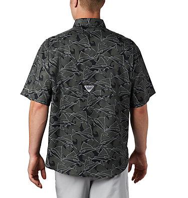 Men's PFG Super Tamiami™ Short Sleeve Shirt Super Tamiami™ SS Shirt | 014 | L, Black Fish Wave Print, back