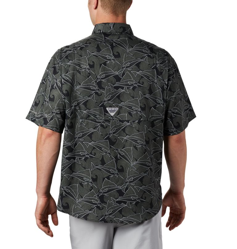 Super Tamiami™ SS Shirt | 014 | L Men's PFG Super Tamiami™ Short Sleeve Shirt, Black Fish Wave Print, back