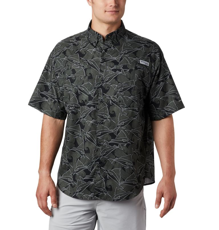 Super Tamiami™ SS Shirt | 014 | L Men's PFG Super Tamiami™ Short Sleeve Shirt, Black Fish Wave Print, front