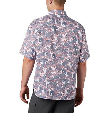 Men's PFG Super Tamiami™ Short Sleeve Shirt Super Tamiami™ SS Shirt | 014 | L, White Fish Wave Print, back